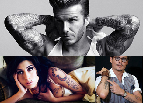 tatouage Beckham, Johnny Depp et Amy Winehouse